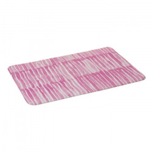 Covoras roz/alb din microfibra pentru baie 45x70 cm Drip Unimasa