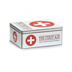 Cutie alba/rosie cu capac din metal pentru medicamente First Aid Zeller