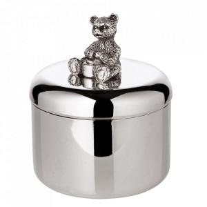 Cutie cu capac din otel argintat Bear Edzard