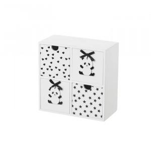 Cutie neagra/alba cu 4 sertare din MDF Panda Unimasa