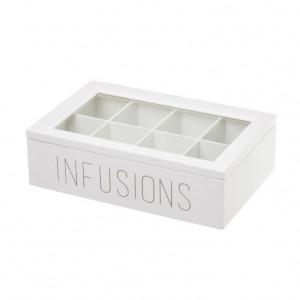 Cutie pentru ceaiuri alba/transparenta din MDF si sticla Infusions Eight Unimasa