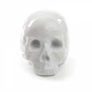 Decoratiune alba din portelan 15 cm My Skull Seletti