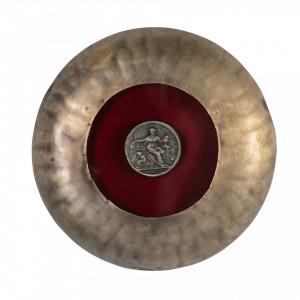 Decoratiune aurie/rosie din fier pentru perete 22 cm Coin Be Pure Home