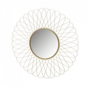 Decoratiune cu oglinda aurie din fier pentru perete 56 cm Fleur Grand Unimasa