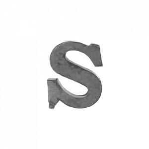 Decoratiune gri din fier 5,5 cm Letter S Madam Stoltz