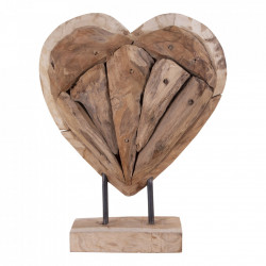 Decoratiune maro din lemn de tec 30 cm Almada House Nordic