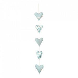 Decoratiune suspendabila albastra din bumbac organic Hearts Cam Cam