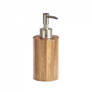 Dispenser maro/argintiu din lemn si inox 150 ml Kime Soap Zeller