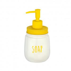 Dispenser sapun lichid alb/galben din ceramica si otel 400 ml Tirana Wenko