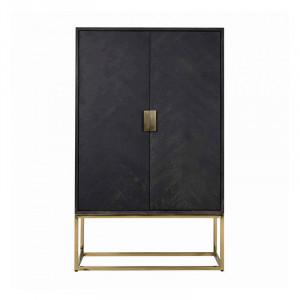 Dulap negru/auriu din lemn si inox 181 cm Blackbone Cabinet Gold Richmond Interiors