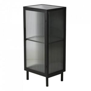 Dulapior negru din sticla si metal Mark Textured Glass Zago