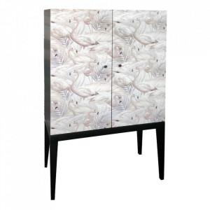 Dulapior negru/multicolor din lemn de brad Flamingo Denzzo