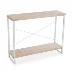 Etajera crem/alba din lemn si metal 80 cm Ciara Versa Home