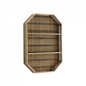Etajera maro din bambus si placaj pentru perete 55 cm Rectangular Madam Stoltz