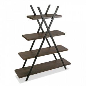 Etajera maro/neagra din metal si lemn 138 cm Wooden Shelf Vilem Versa Home