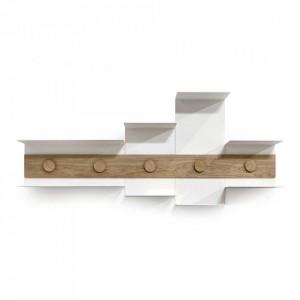 Etajera pentru perete alba/maro din lemn si metal 51 cm Junction Serax