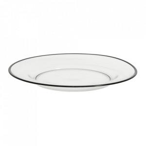 Farfurie adanca transparenta/neagra din sticla 26 cm Siena Nordal