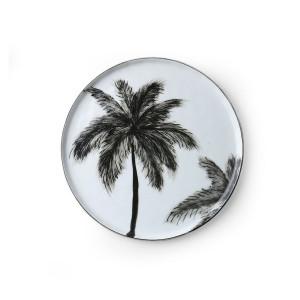 Farfurie alba/neagra din portelan 22 cm Palms Side Plate HK Living