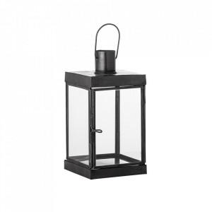 Felinar negru din sticla si fier 16 cm Kefas Bloomingville