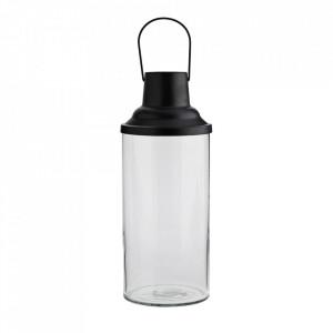 Felinar negru/transparent din fier si sticla 34 cm Lavias Madam Stoltz