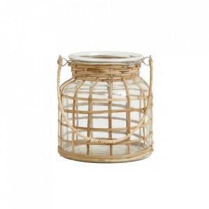 Felinar transparent/maro din sticla si bambus 15 cm Bamboo Candle Small Nordal
