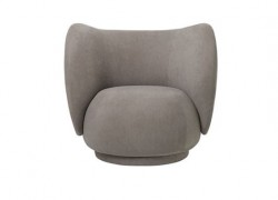 Fotoliu gri din lemn si poliester Rico Lounge Chair Warm Grey Ferm Living