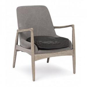 Fotoliu gri/negru din textil si lemn Marittas Bizzotto