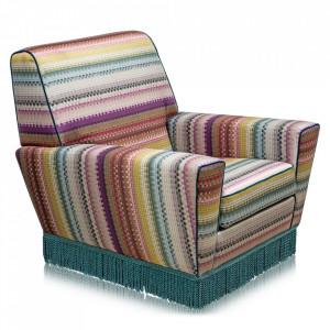 Fotoliu multicolor din textil si lemn Studio S Versmissen