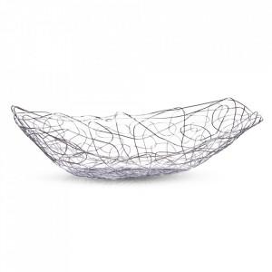 Fructiera argintie din metal 19x33 cm Tangle Zeller