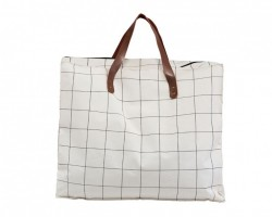 Geanta alba din textil Shopper Square Doctor House