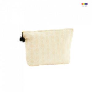 Geanta crem din in si bumbac 20x30 cm pentru cosmetice Embroidered Bag Vanilla Madam Stoltz