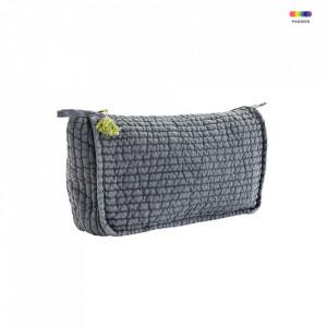 Geanta matlasata gri/galbena din in 20x30 cm pentru cosmetice Grey Toilet Bag Madam Stoltz