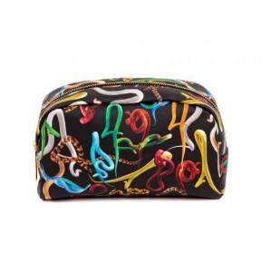 Geanta multicolora din poliester si poliuretan 13x23 cm pentru cosmetice Snakes Toiletpaper Seletti
