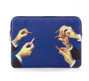 Geanta multicolora din poliester si poliuretan 25x34,5 cm pentru laptop Lipsticks Toiletpaper Seletti