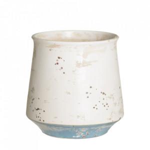 Ghiveci alb/albastru din ceramica 18 cm Kalahari Ixia