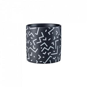 Ghiveci negru/alb din ceramica 9,5 cm Break Bolia