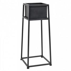 Ghiveci negru din metal cu suport 28x28 cm Stand Nordal
