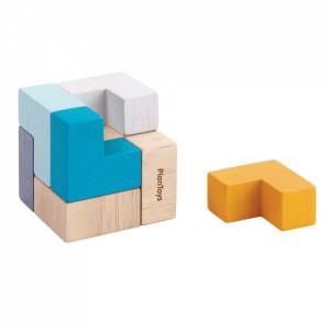 Joc tip puzzle 9 piese multicolor din lemn 3D Puzzle Cube Plan Toys