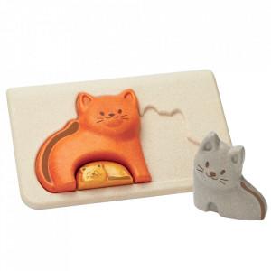 Joc tip puzzle multicolor din lemn Cat Plan Toys