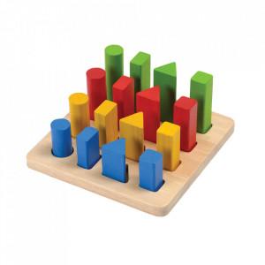Jucarie de potrivire a formelor multicolora din lemn Geometric Peg Board Plan Toys