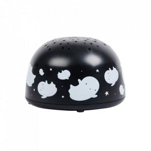 Lampa cu proiector neagra/alba din plastic cu LED 9 cm Ghost A Little Lovely Company