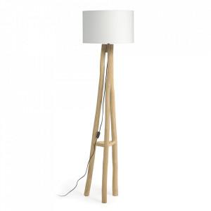 Lampadar alb/maro din polipropilena si lemn de tec 177 cm Lucelia Kave Home