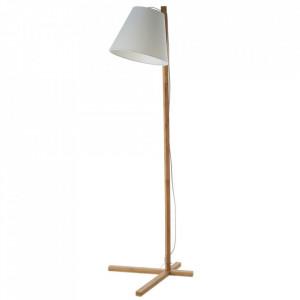 Lampadar alb/maro din textil si lemn 150 cm Ginny Unimasa