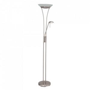 Lampadar argintiu/alb din sticla si metal cu 2 LED-uri 179 cm Finn Brilliant