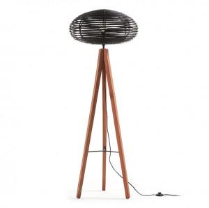 Lampadar din lemn si ratan negru Layton Kave Home