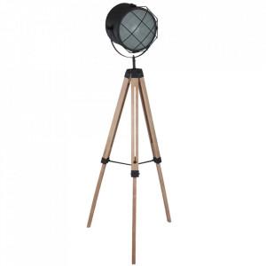 Lampadar negru/maro din metal si lemn 160 cm Dyce Steinhauer