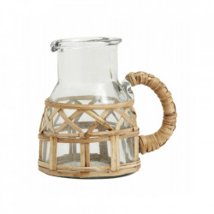 Latiera transparenta/maro din sticla si ratan 300 ml Weva Nordal