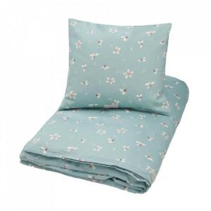 Lenjerie pat albastra din bumbac organic 70x100/40x45 cm Windflower Cam Cam