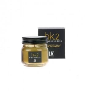 Lumanare parfumata cu suport transparent din sticla si ceara 8 cm Asian Lemongrass HK Living