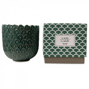 Lumanare parfumata cu suport verde din ceramica 11 cm Alkeides Opjet Paris